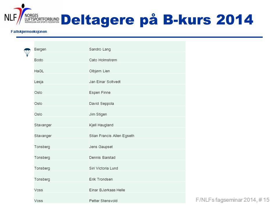 Deltagere på B-kurs 2014 Kurs 2013 F/NLFs fagseminar 2014, # 15 Bergen
