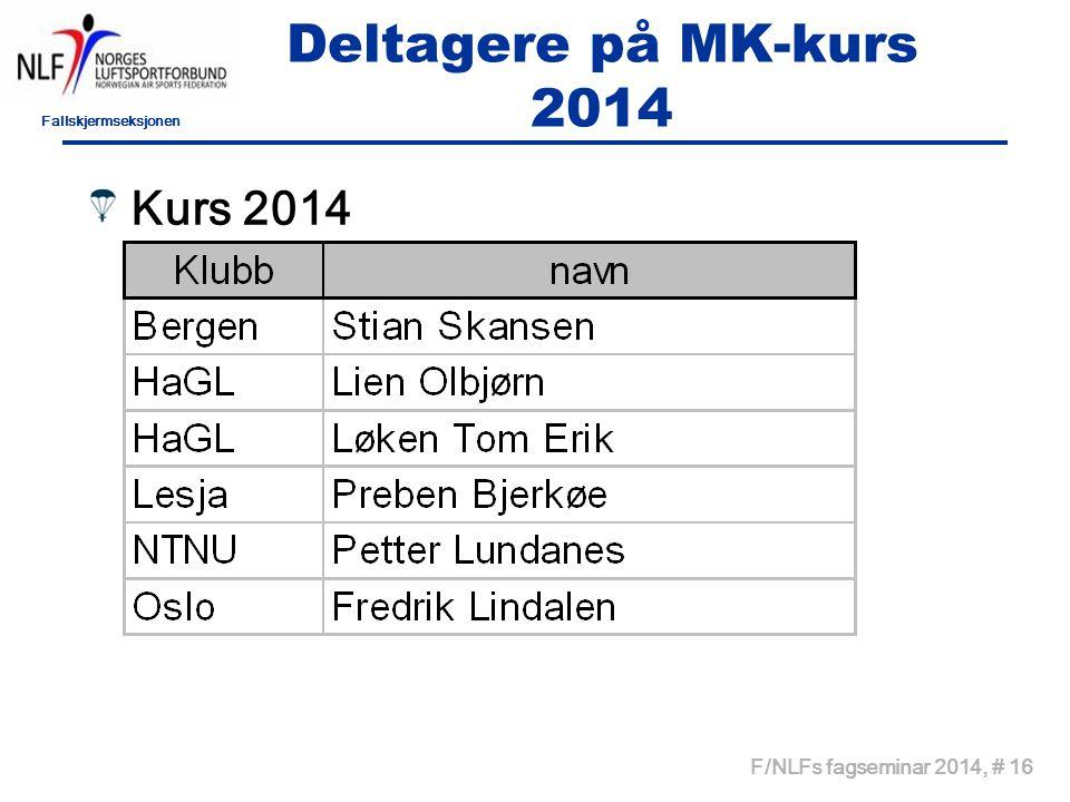 Deltagere på MK-kurs 2014 Kurs 2014 F/NLFs fagseminar 2014, # 16