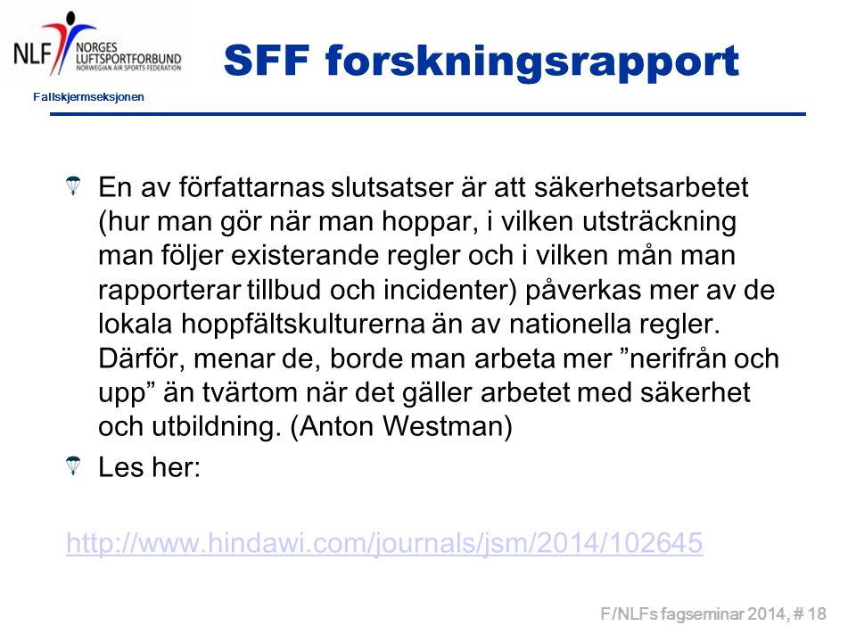 SFF forskningsrapport