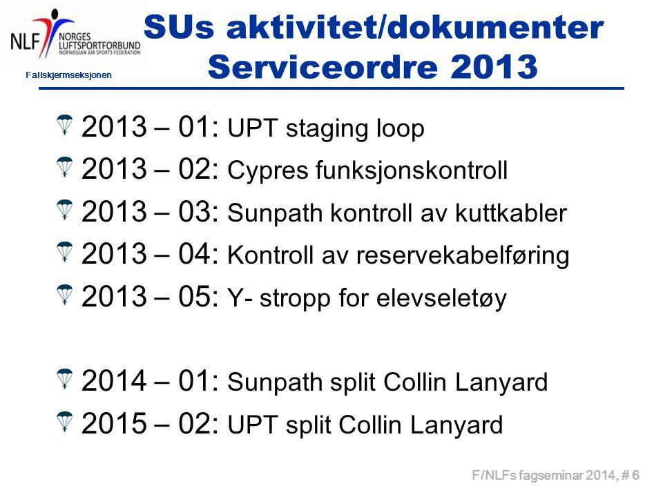 SUs aktivitet/dokumenter Serviceordre 2013