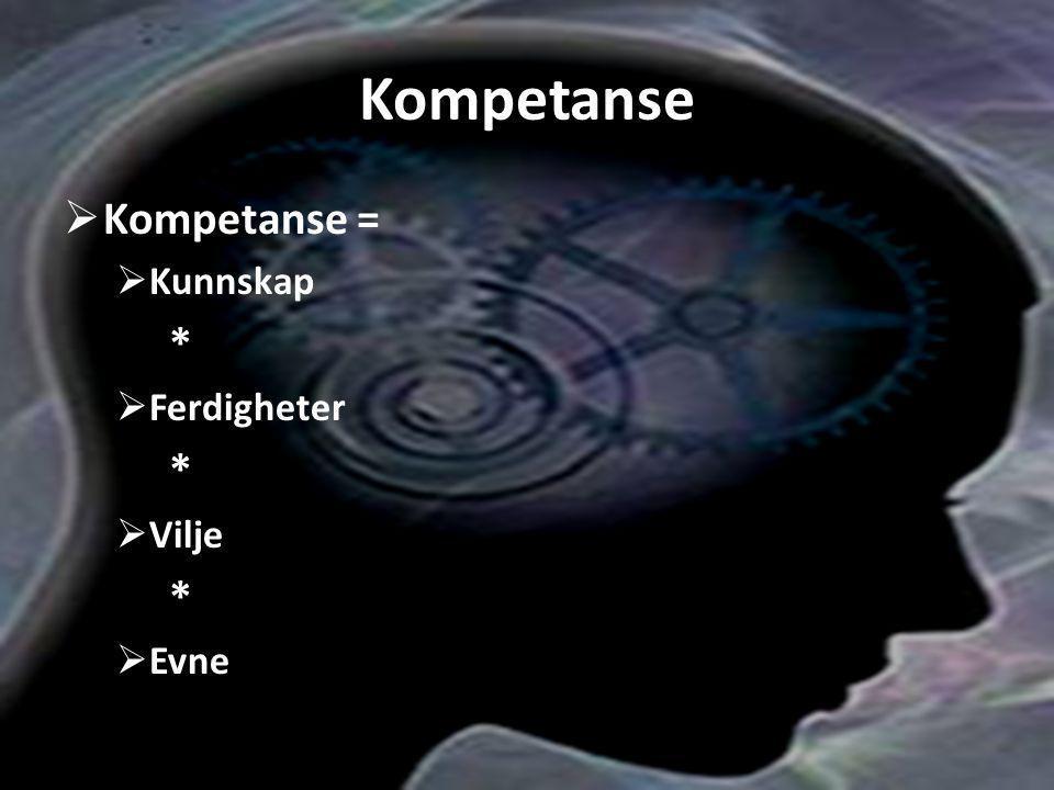 Kompetanse Kompetanse = Kunnskap * Ferdigheter Vilje Evne