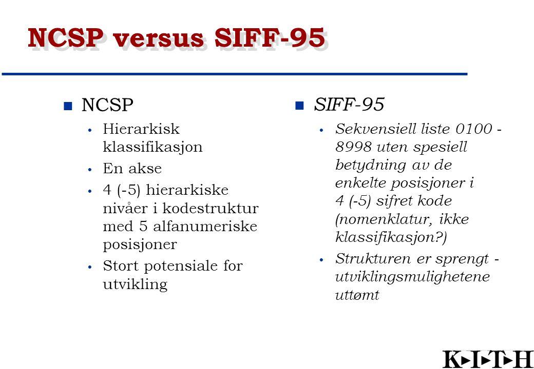 NCSP versus SIFF-95 NCSP SIFF-95 Hierarkisk klassifikasjon En akse