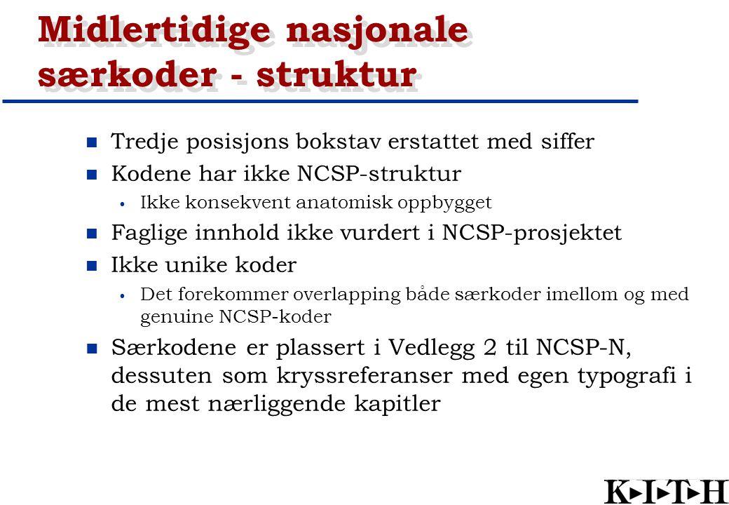 Midlertidige nasjonale særkoder - struktur