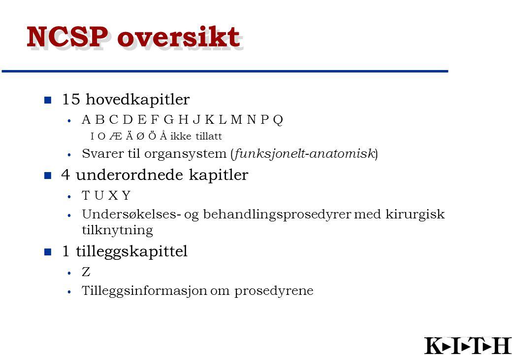 NCSP oversikt 15 hovedkapitler 4 underordnede kapitler