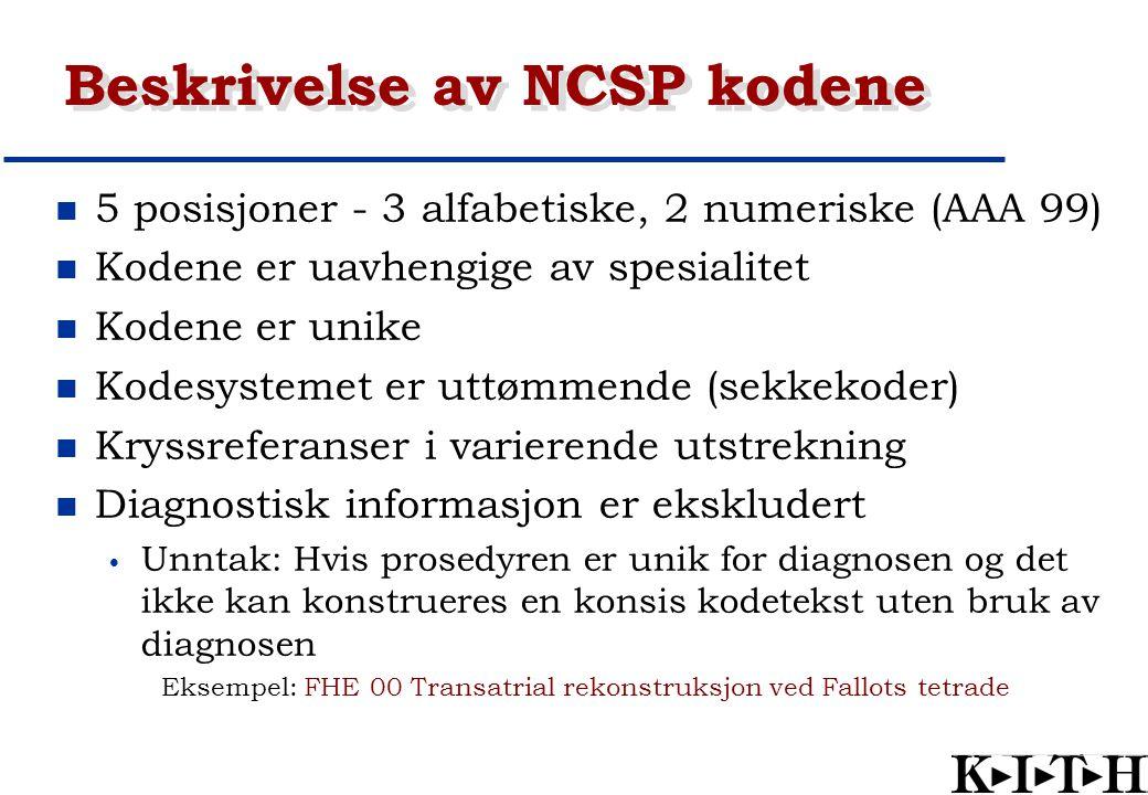 Beskrivelse av NCSP kodene
