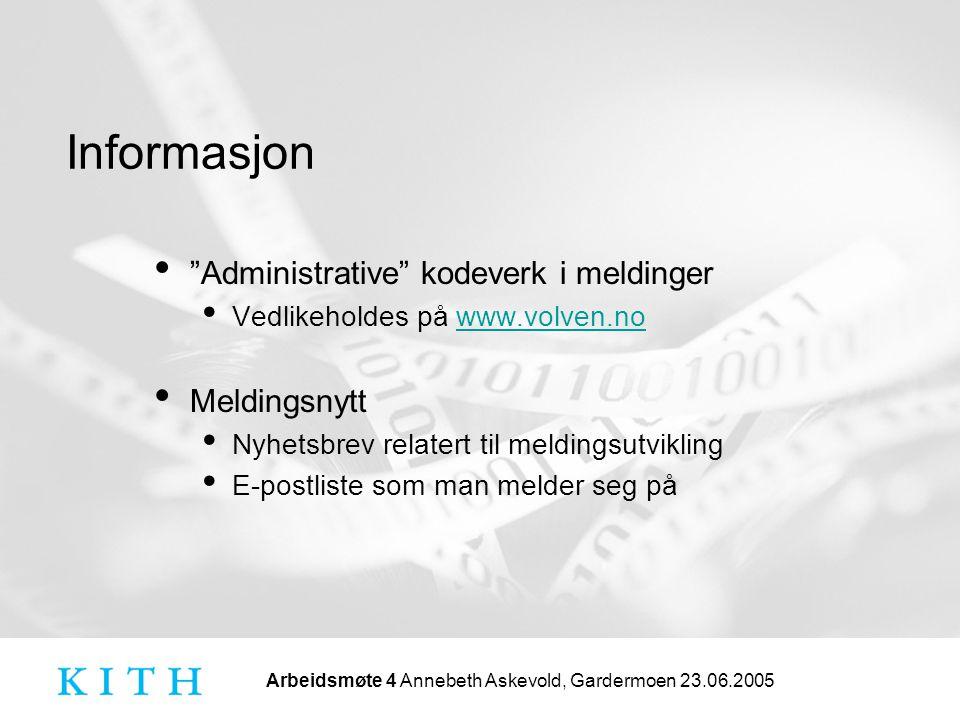 Administrative kodeverk i meldinger Meldingsnytt