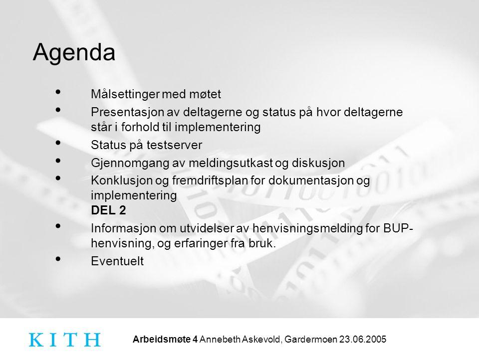 Agenda Målsettinger med møtet