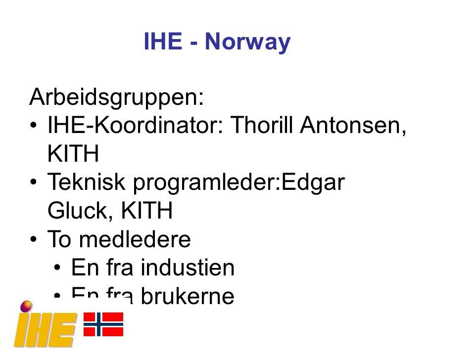 IHE - Norway Arbeidsgruppen: IHE-Koordinator: Thorill Antonsen, KITH. Teknisk programleder:Edgar Gluck, KITH.