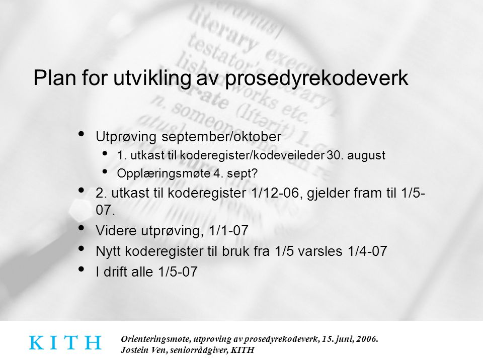 Plan for utvikling av prosedyrekodeverk