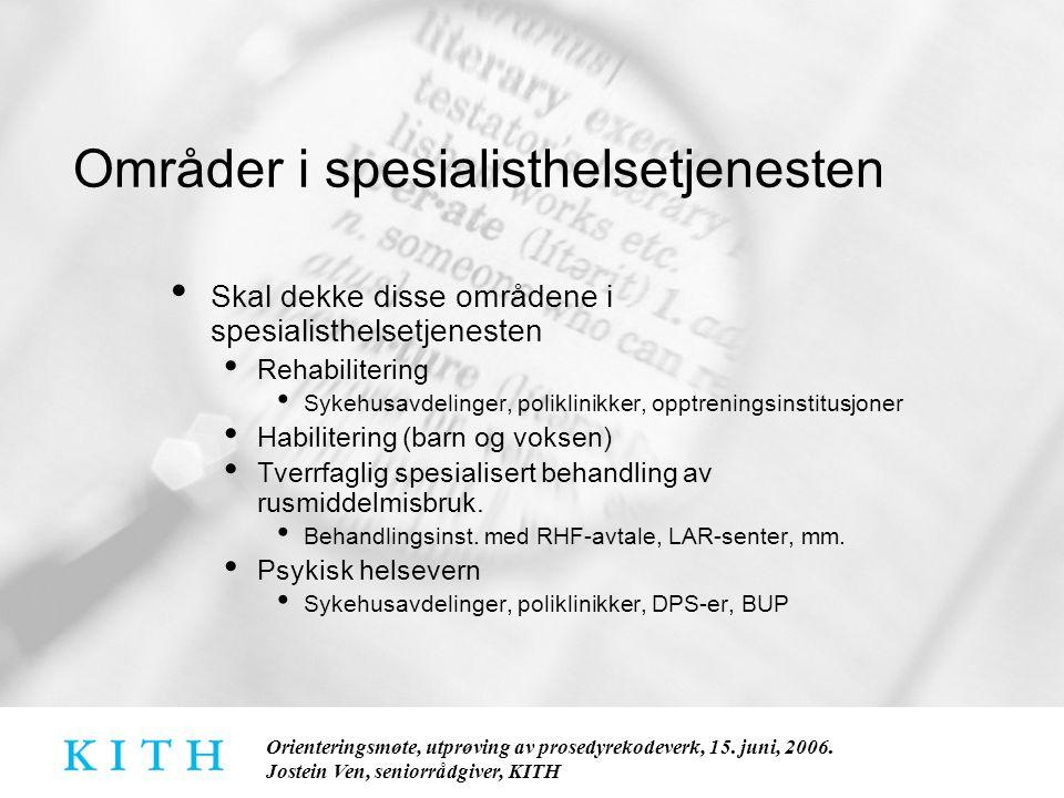 Områder i spesialisthelsetjenesten