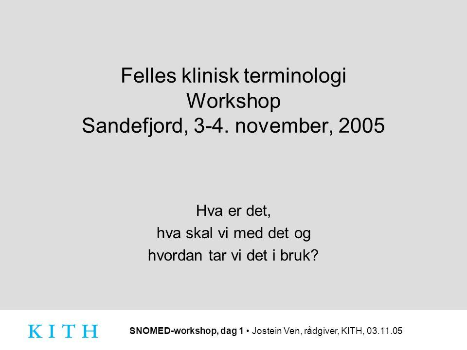 Felles klinisk terminologi Workshop Sandefjord, 3-4. november, 2005
