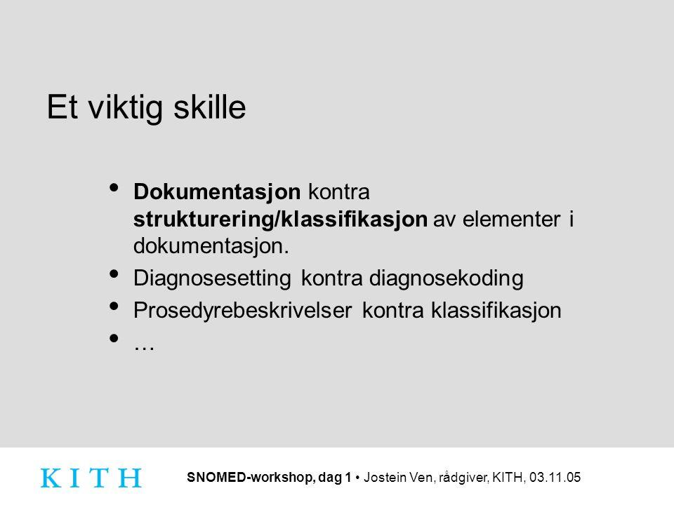 Et viktig skille Dokumentasjon kontra strukturering/klassifikasjon av elementer i dokumentasjon. Diagnosesetting kontra diagnosekoding.