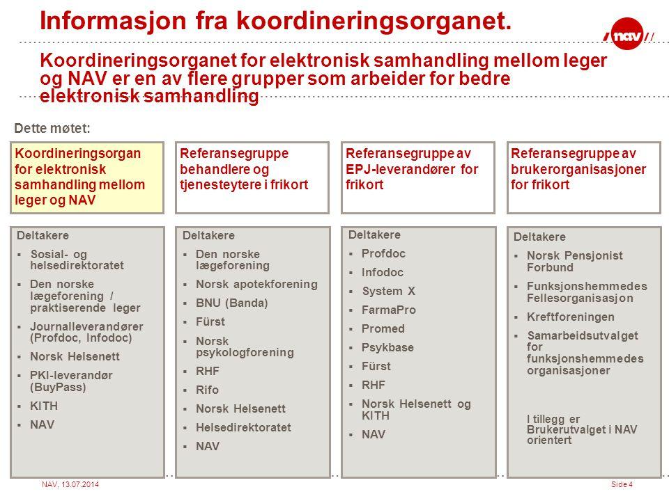 Informasjon fra koordineringsorganet