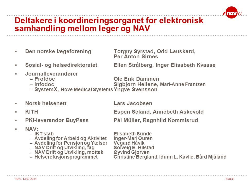 Deltakere i koordineringsorganet for elektronisk samhandling mellom leger og NAV