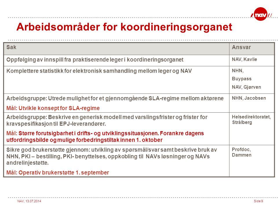 Arbeidsområder for koordineringsorganet