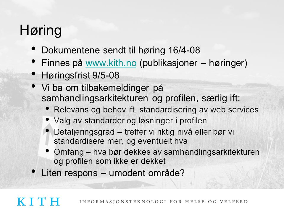 Dokumentene sendt til høring 16/4-08