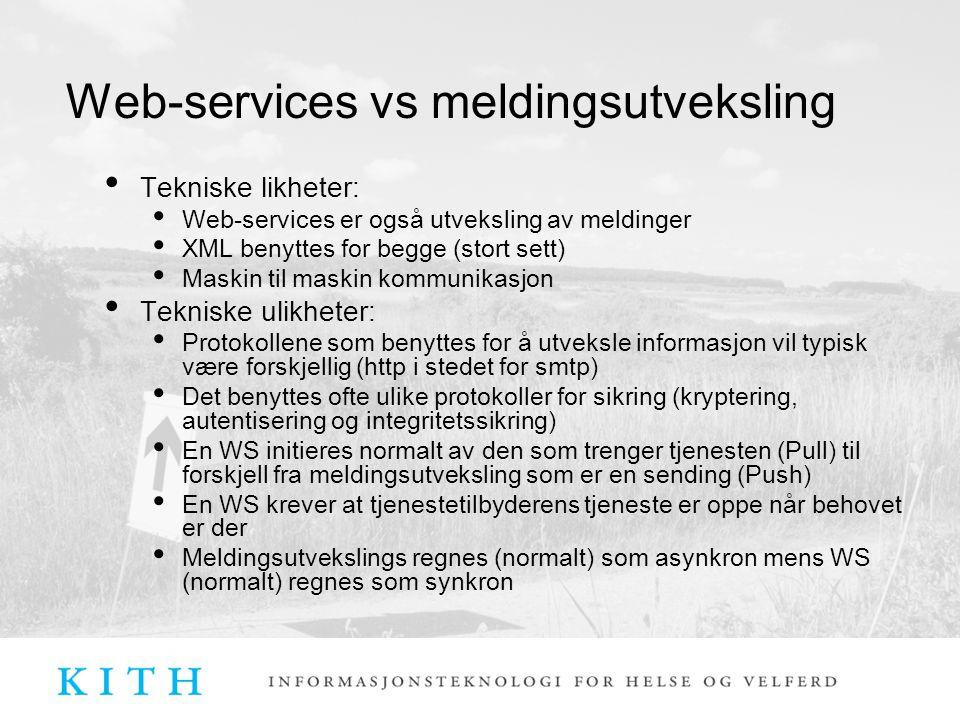 Web-services vs meldingsutveksling