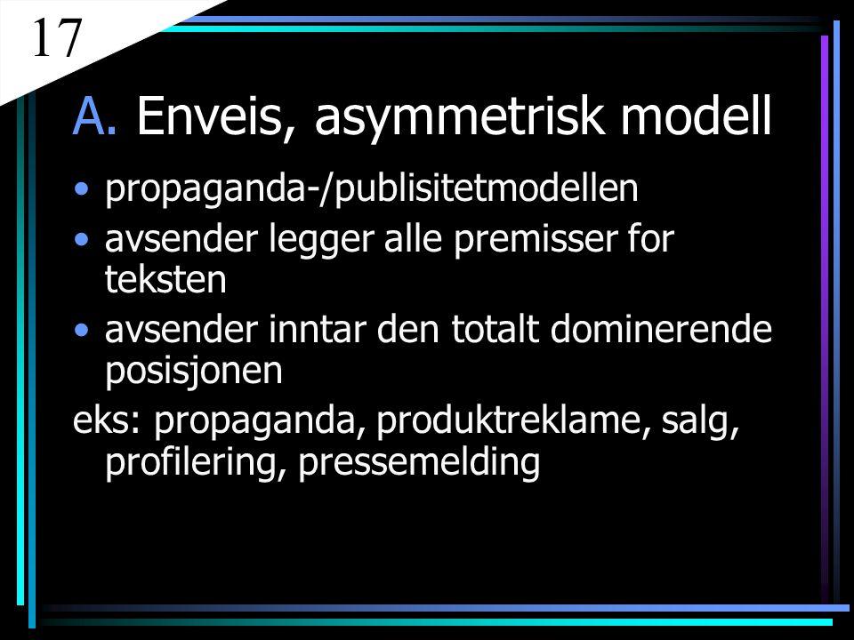 17 A. Enveis, asymmetrisk modell propaganda-/publisitetmodellen
