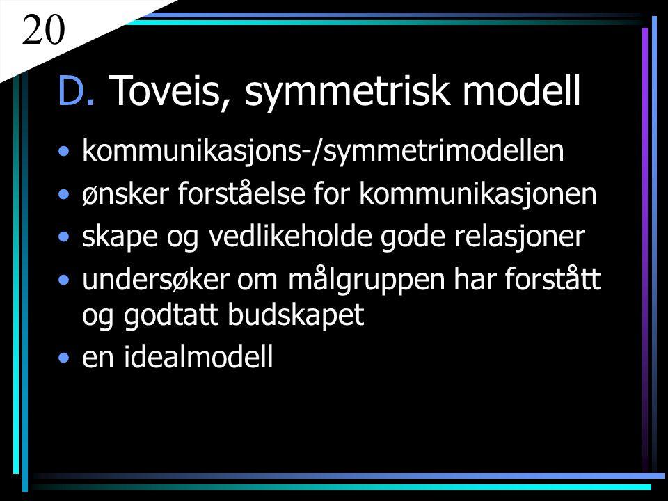 20 D. Toveis, symmetrisk modell kommunikasjons-/symmetrimodellen