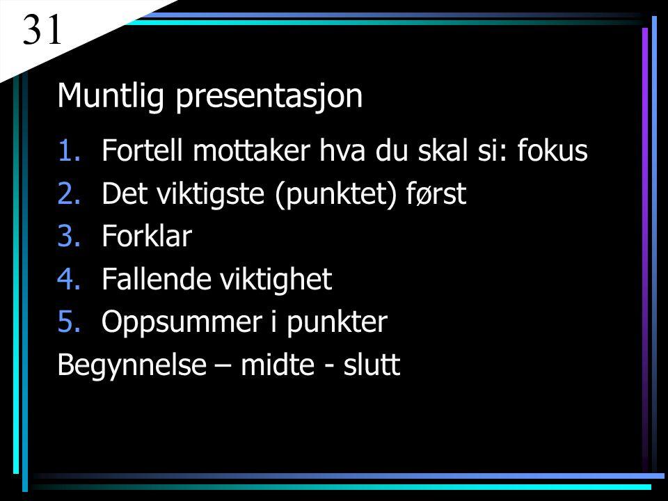 31 Muntlig presentasjon Fortell mottaker hva du skal si: fokus