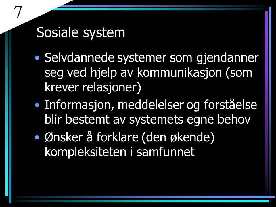 7 Sosiale system. Selvdannede systemer som gjendanner seg ved hjelp av kommunikasjon (som krever relasjoner)
