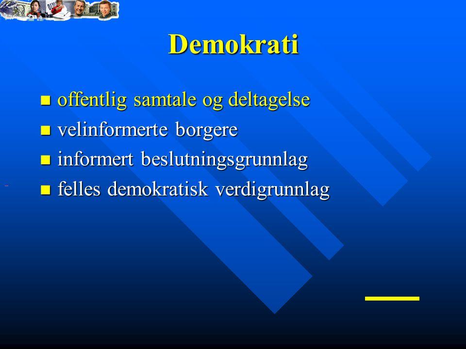 Demokrati offentlig samtale og deltagelse velinformerte borgere