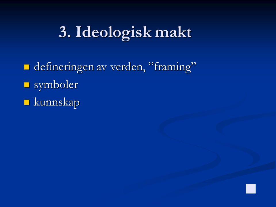 3. Ideologisk makt defineringen av verden, framing symboler kunnskap