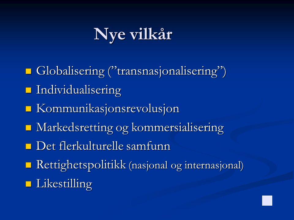Nye vilkår Globalisering ( transnasjonalisering ) Individualisering