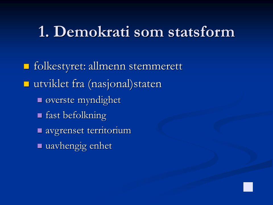 1. Demokrati som statsform