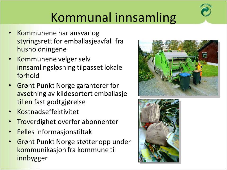 Kommunal innsamling Kommunene har ansvar og styringsrett for emballasjeavfall fra husholdningene.
