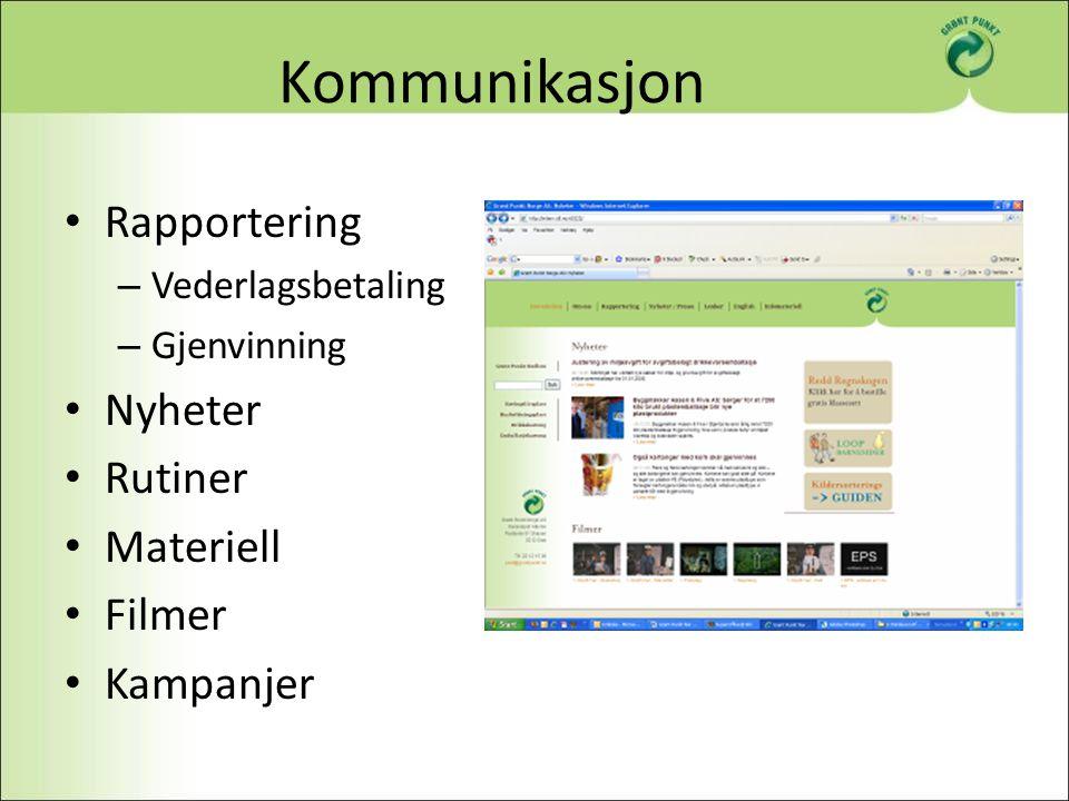 Kommunikasjon Rapportering Nyheter Rutiner Materiell Filmer Kampanjer