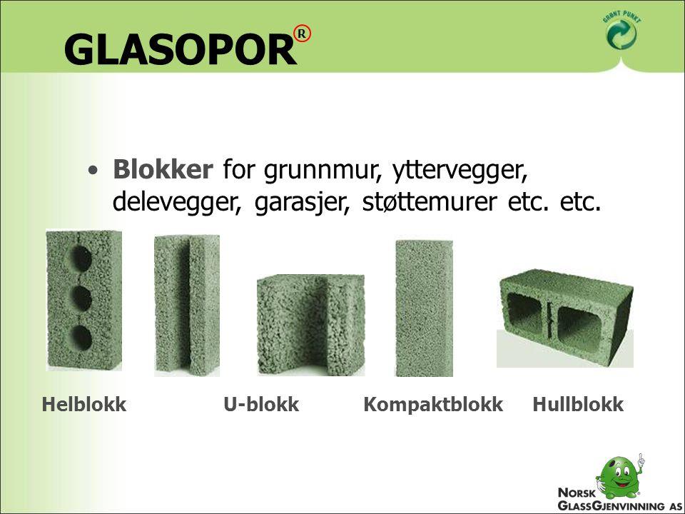 GLASOPOR R. Blokker for grunnmur, yttervegger, delevegger, garasjer, støttemurer etc. etc. Helblokk.