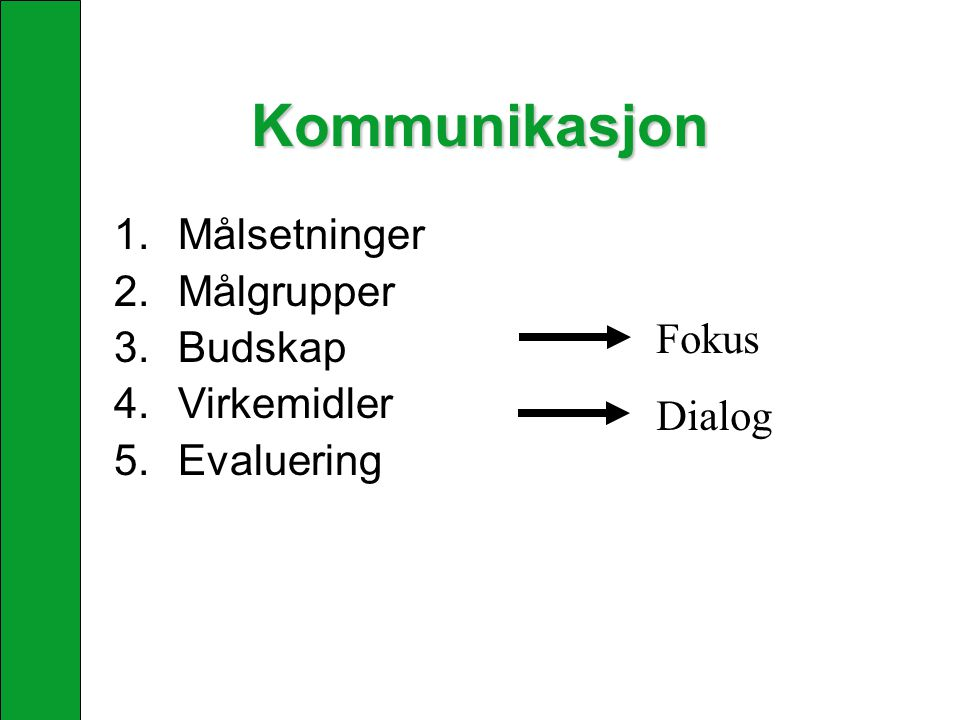 Kommunikasjon Målsetninger Målgrupper Budskap Virkemidler Fokus