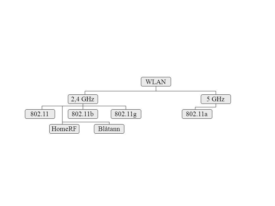 WLAN 2,4 GHz 5 GHz 802.11g 802.11b 802.11 HomeRF Blåtann 802.11a