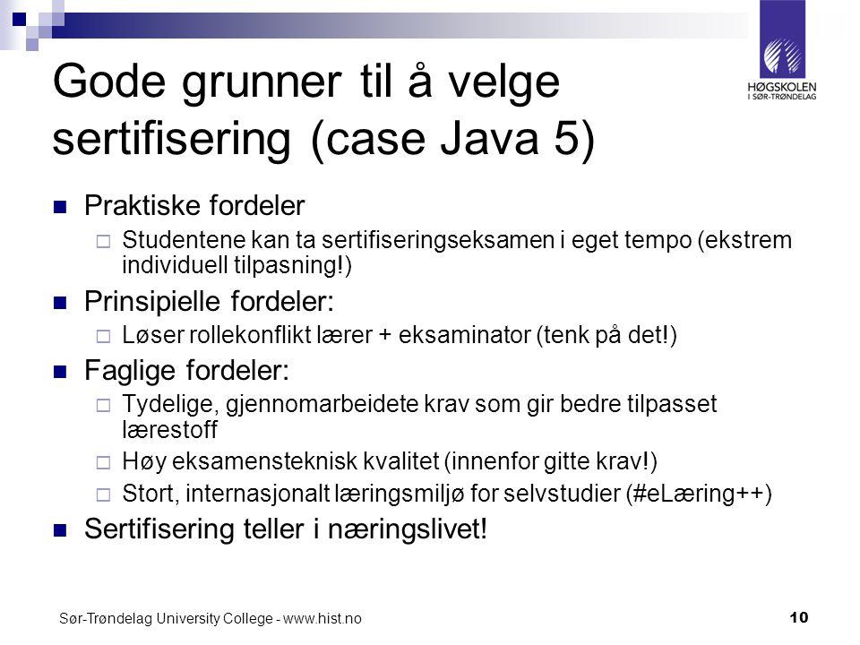Gode grunner til å velge sertifisering (case Java 5)