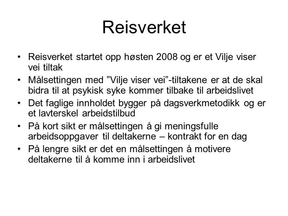 Reisverket Reisverket startet opp høsten 2008 og er et Vilje viser vei tiltak.