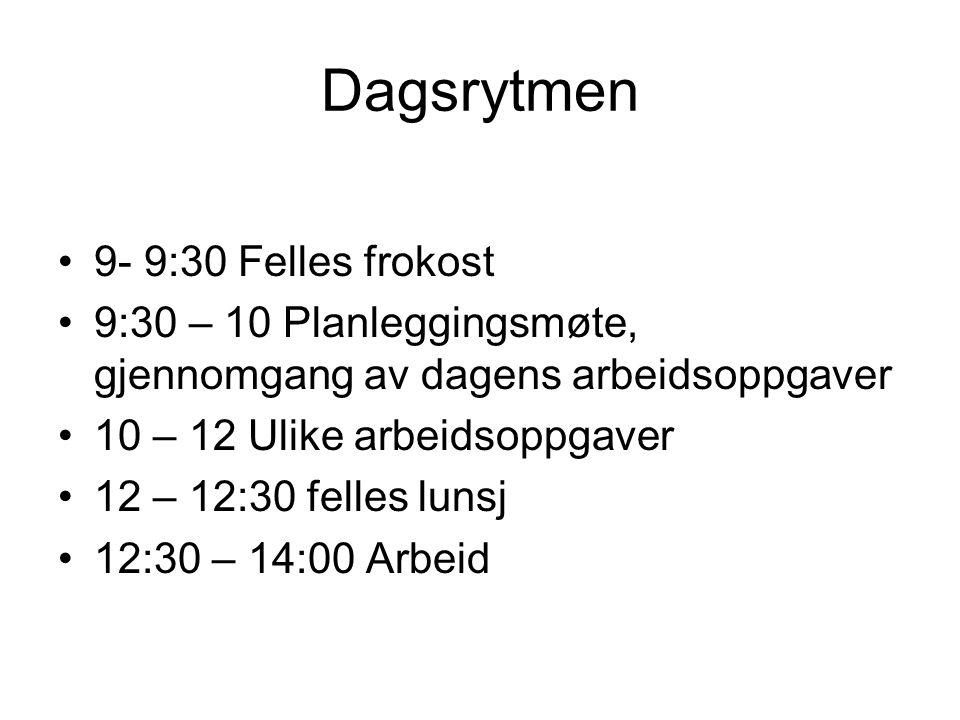 Dagsrytmen 9- 9:30 Felles frokost