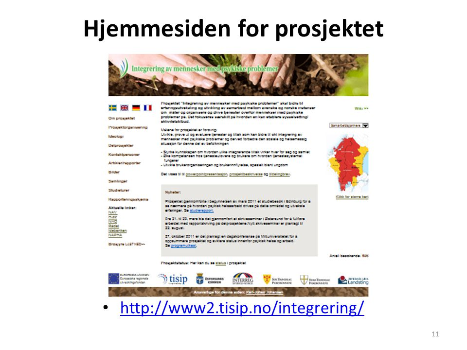 Hjemmesiden for prosjektet