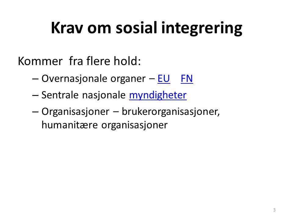 Krav om sosial integrering