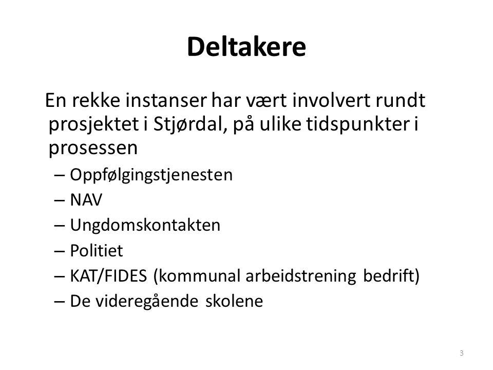 Deltakere En rekke instanser har vært involvert rundt prosjektet i Stjørdal, på ulike tidspunkter i prosessen.