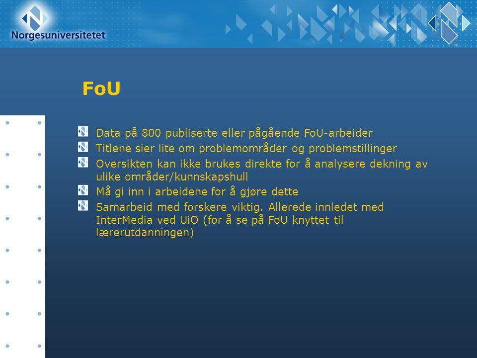 FoU Data på 800 publiserte eller pågående FoU-arbeider