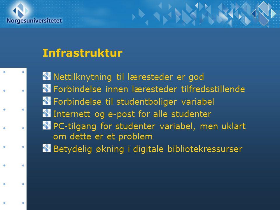 Infrastruktur Nettilknytning til læresteder er god