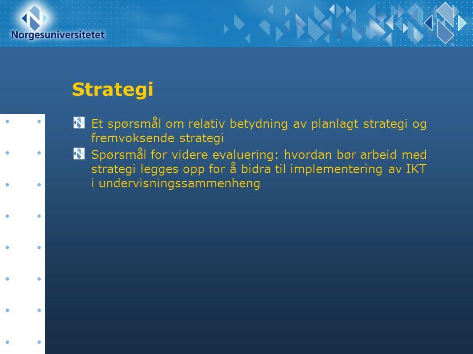 Strategi Et spørsmål om relativ betydning av planlagt strategi og fremvoksende strategi.