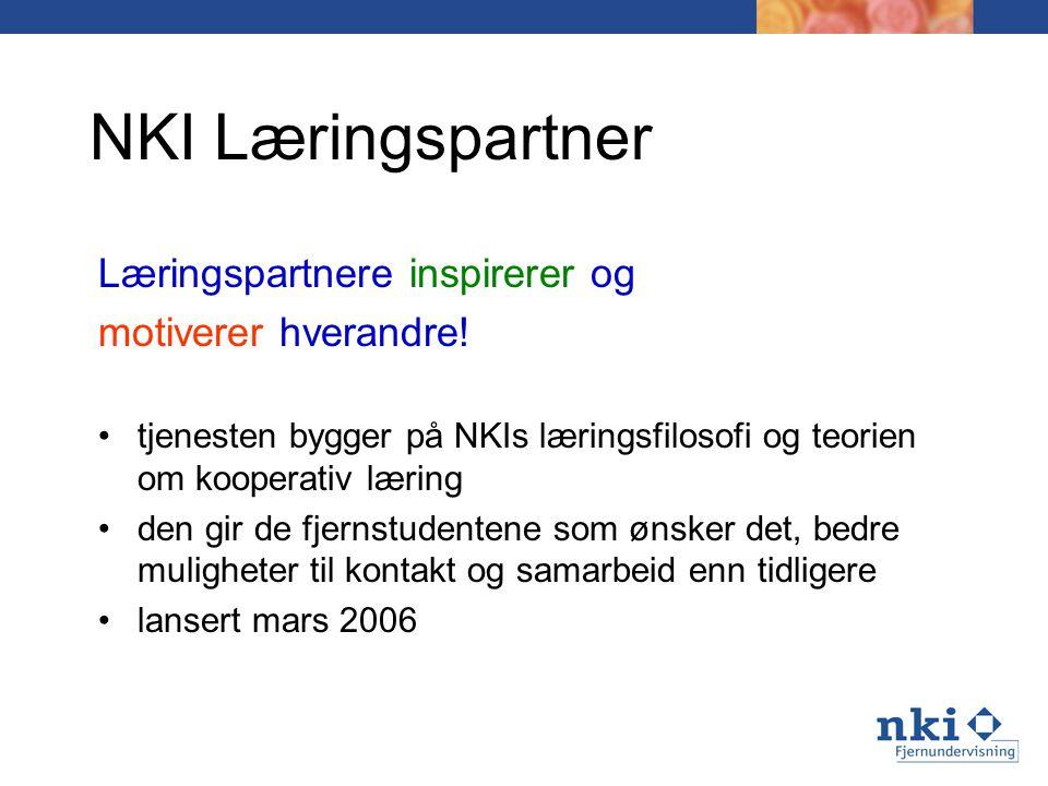 NKI Læringspartner Læringspartnere inspirerer og motiverer hverandre!