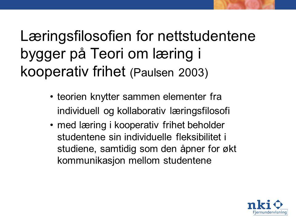 Læringsfilosofien for nettstudentene bygger på Teori om læring i kooperativ frihet (Paulsen 2003)
