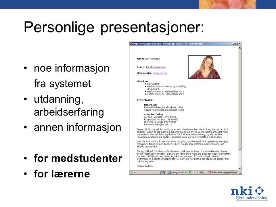 Personlige presentasjoner: