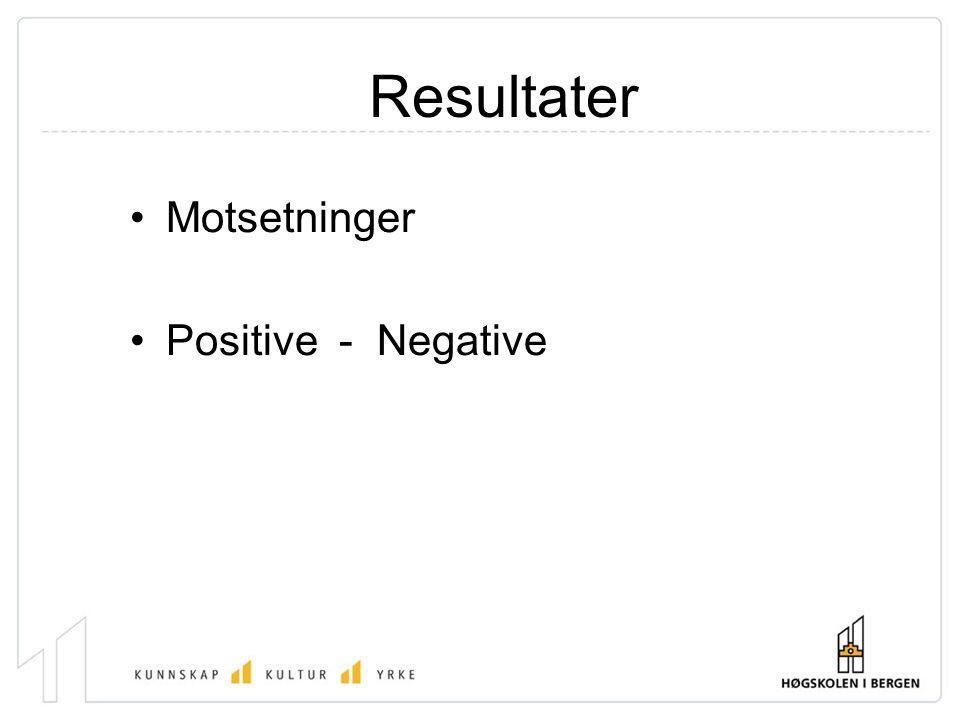 Resultater Motsetninger Positive - Negative