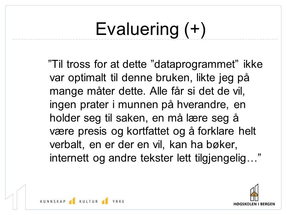 Evaluering (+)