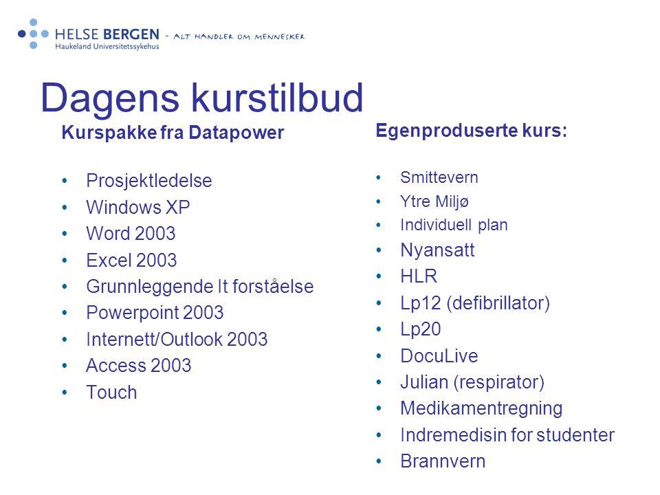 Dagens kurstilbud Kurspakke fra Datapower Egenproduserte kurs: