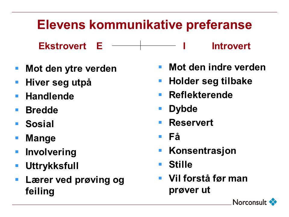 Elevens kommunikative preferanse Ekstrovert E I Introvert